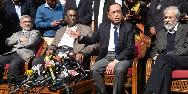 NEW DELHI, INDIA - JANUARY 12: Supreme Court Judges ( L TO R ) Kurian Joseph, J Chelameswar, Ranjan Gogoi...