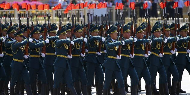 Kyrgyzstan's soldiers march during the military parade marking the 70th anniversary of the end of World...