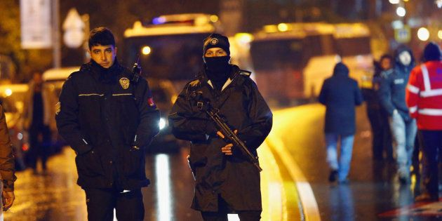 Police secure an area near the Istanbul nightclub, following a gun attack on 1 January,