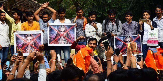 Rajput Karni Sena workers protesting outside the Central Board of Film Certification (CBFC) office in...
