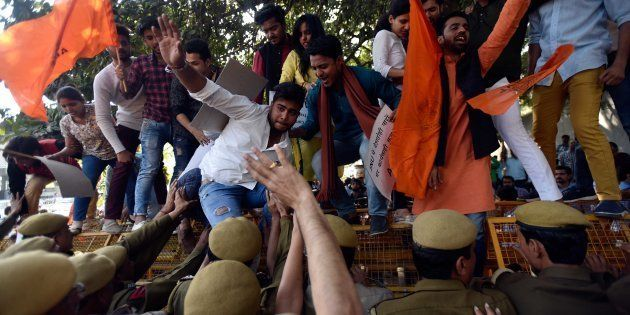 Members of ABVP protest for demand action against February 9 incident where Left-leaning students allegedly...