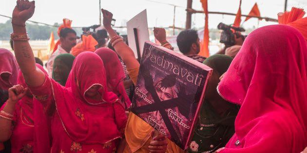 MUMBAI, INDIA - NOVEMBER 20: Akhil Bhartiya Maratha Mahasangha and Akhil Bhartiya Shatriyasangh protest...