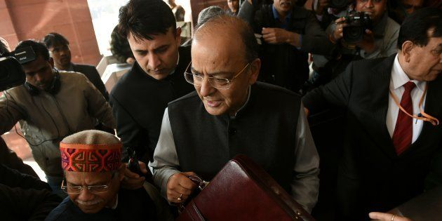 Indian Finance Minister Arun Jaitley arrives at Parliament House to present the Union