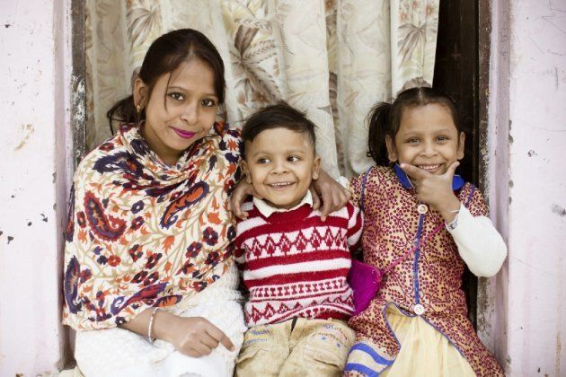 Radha, with her children Siddharth and Sia