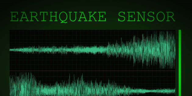 A mocked up screen showing seismic activity 'earthquake sensor' with 6.5 on the Richter
