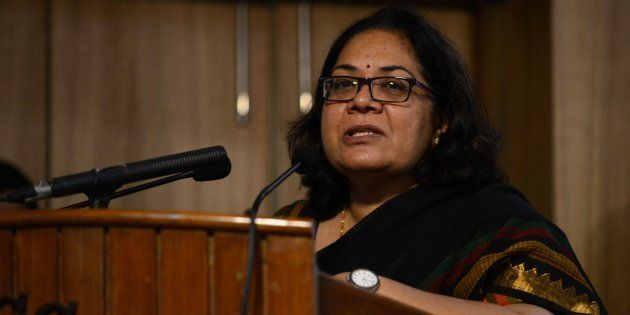 Lalitha Kumaramangalam, chairperson of India's National Commission for Women, speaks at a conference...