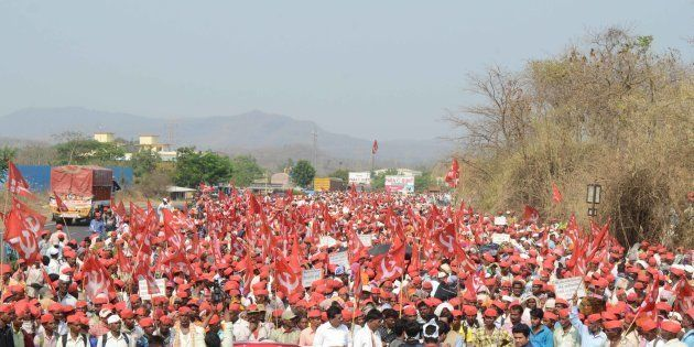 MUMBAI, INDIA - MARCH 9: More than 25,000 farmers led-by All Indian Kisan Sabha (AIKS) continued their...