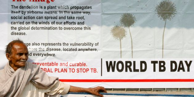 Jotindra Singh, 65, suffering from Tuberculosis (TB) waits for his free treatment outside a medical centre...