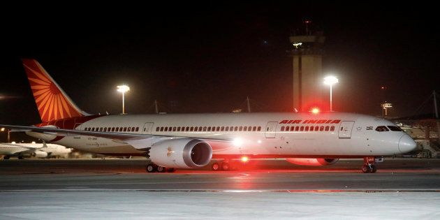An Air India Boeing 787-8 Dreamliner plane lands at the Ben Gurion International airport in Lod, near...