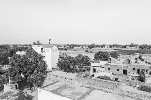 Aerial view of Nizampur village in Kasganj, which is dominated by
