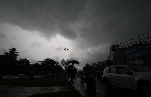 Rain clouds hover in the sky before downpour in the eastern Indian state Odisha's capital city Bhubaneswar...
