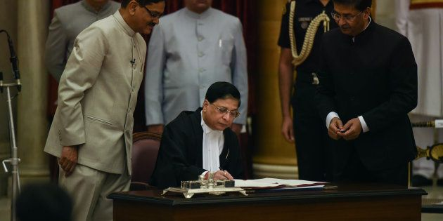 NEW DELHI, INDIA AUGUST 28: Dipak Misra during his oath ceremony as a New Chief Justice of India at Rashtrapati...