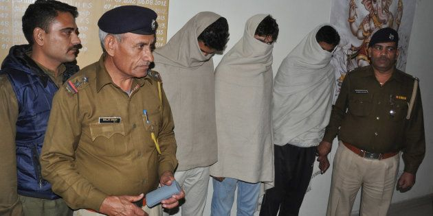 The accused of Rohtak eve-teasing case in police custody on November 30, 2014 in Rohtak,