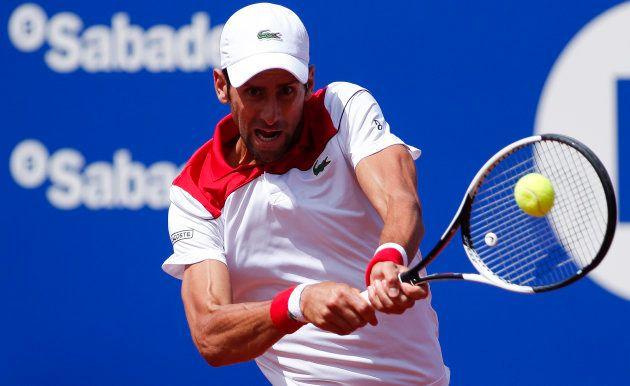 25th April 2018, Barcelona Open Tennis tournament; Novak Djokovic returns