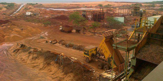 Beach sand-mining along the coast of Tamil