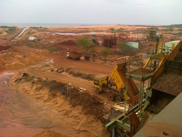 Beach sand-mining along the coast of Tamil