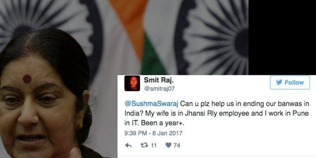 A Man's Request To Sushma Swaraj To Get His Wife Transferred To His City Totally