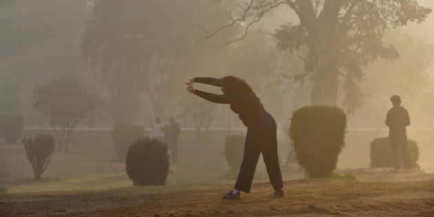 Morning walkers and fitness enthusiasts come to Lodhi garden early on a winter