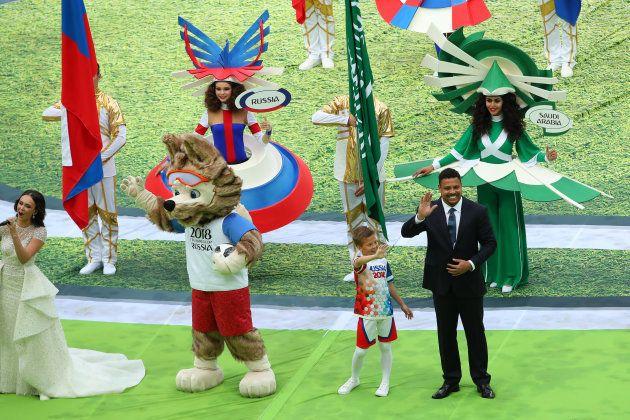 Football legend Ronaldo and Zabivaka, the Russian mascot of the FIFA World Cup, were seen kicking around...