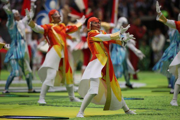 Dancers perform at the Luzhniki