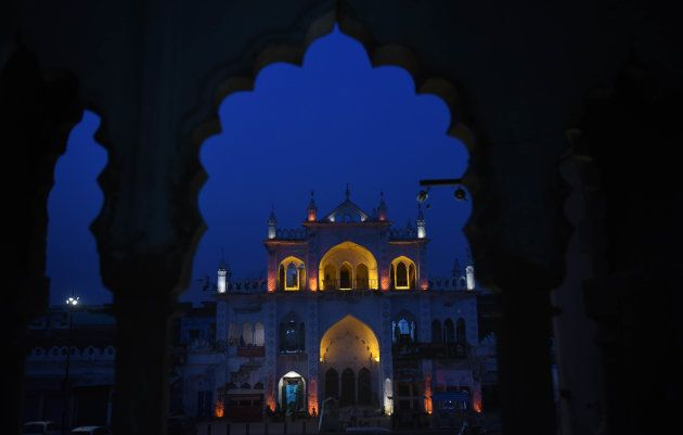 The Naubat Khana lit up on the occasion of Eid al-fitr in Lucknow's old