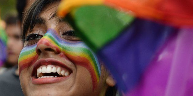 An Indian supporter of the lesbian, gay, bisexual, transgender (LGBT) community takes part in a pride...