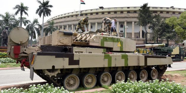 The Arjun tank stationed on the Parliament House premises for an exhibition in August 2016 in New Delhi,