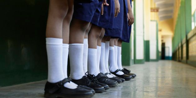 Elementary Students Standing in a Row --- Image by �
