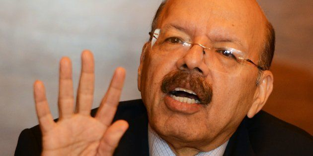 Nasim Zaidi, India's chief election commissioner, takes part in a press conference after meeting different...