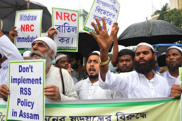 Indian Muslims at a protest rally against Assam Government and Indian ruling political party Bharatiya Janata Party (BJP).