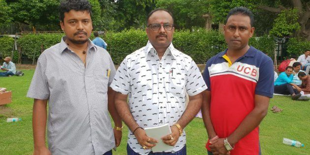 Aabhijeet Sharma (centre) outside the Supreme Court of India.