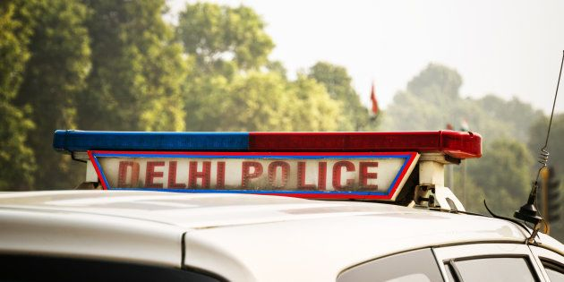 A police car on the street in New Delhi,