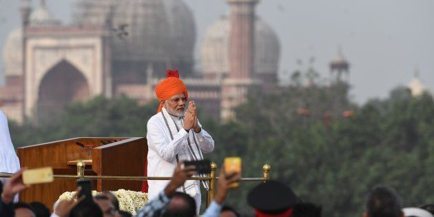 Indian Prime Minister Narendra Modi at the Red Fort in New Delhi on August 15,