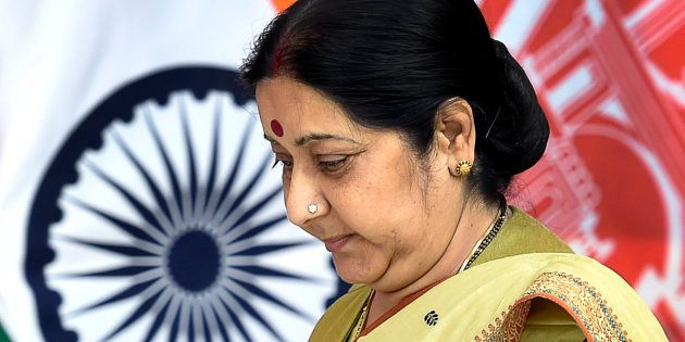 External Affairs Minister Sushma Swaraj arrives for a meeting between Indian Prime Minister Narendra...