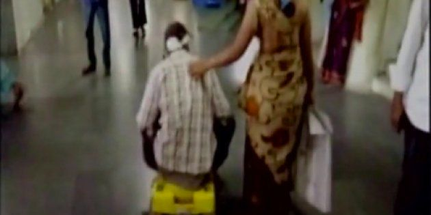 Patient Forced To Use Child's Tricycle After Allegedly Being Denied A Wheelchair At Telangana Govt