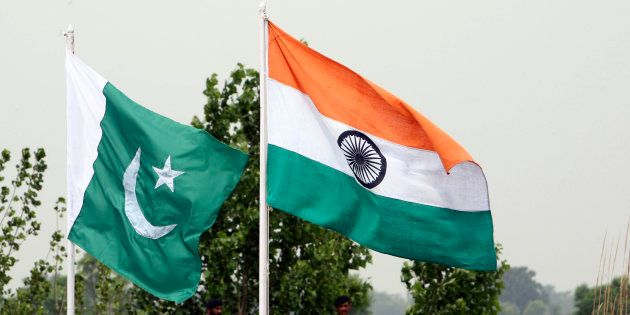 A file photo of the Indian and Pakistani national flags near the