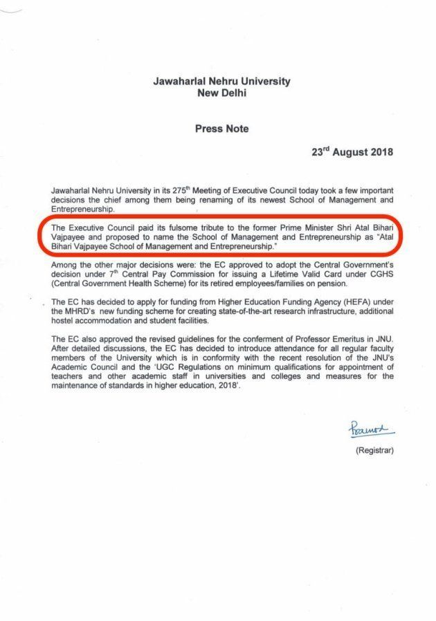 Jawaharlal Nehru University press release
