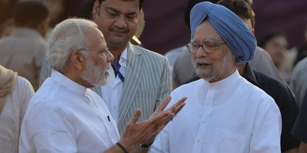 Prime Minister Narendra Modi and former prime minister Manmohan Singh in a file