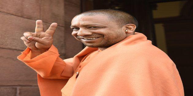 Bharatiya Janata Party Member of Parliament from Gorakhpur in the Lok Sabha Mahanth Yogi Adityanath arrive...