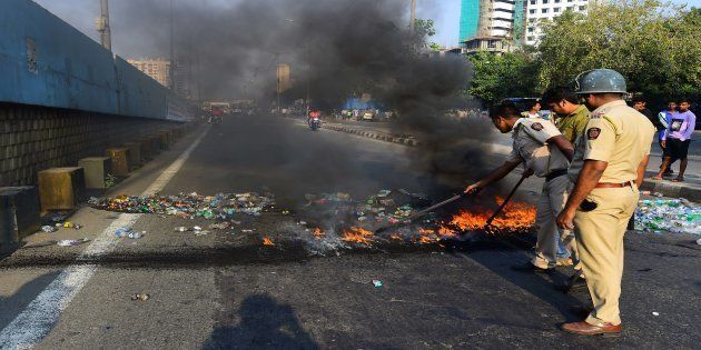A file photo of protesters agitating after clashes broke out between Dalit groups and supporters of right-wing...