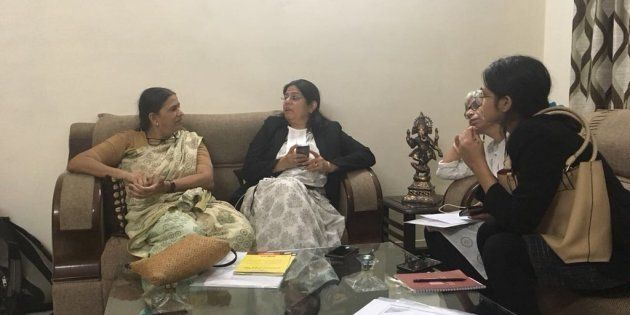 Sudha Bharadwaj (left) with lawyers on