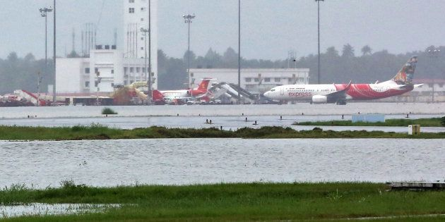 The flooded Cochin international airport during the Kerala