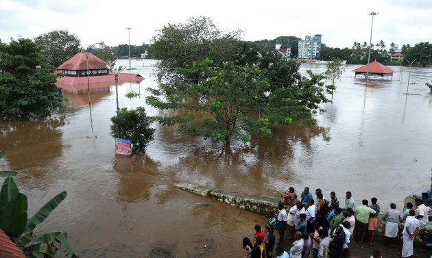 The famous Shiva temple in Aluva is seen submerged on 9 August after the release of water from Idamalayar...