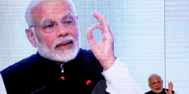 India's Prime Minister Narendra Modi addresses the Bay of Bengal Initiative for Multi-Sectoral Technical...