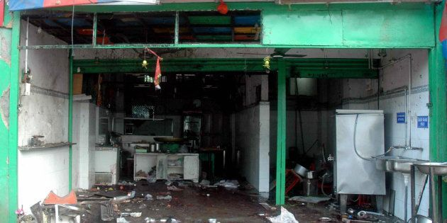 A file photo of the blast at Gokul Chaat in Hyderabad in