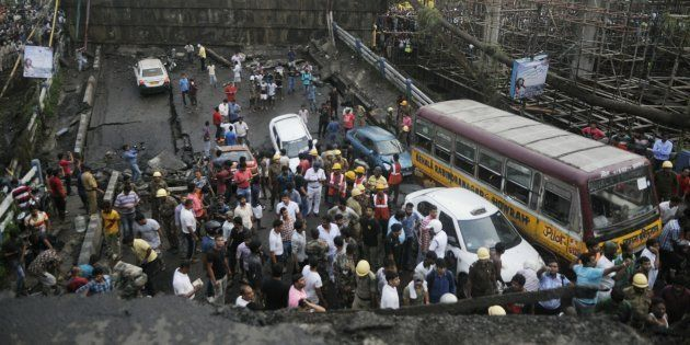 A section of the Majerhat bridge on the busy Diamond Harbour Road in Kolkata collapsed on