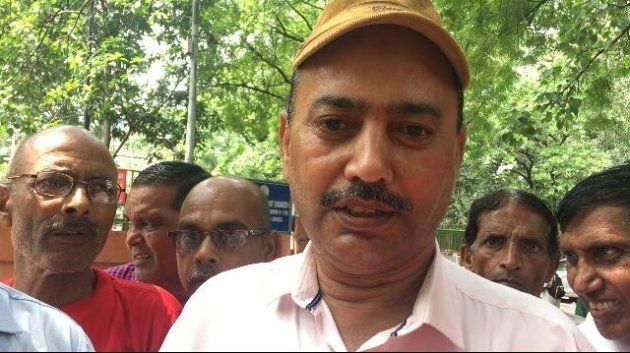 Ansar Ali, Circle President UP West BSNL Employees Union, protesting at the