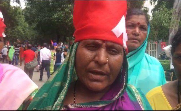 The head of the Devdasi Vimochana Sangh from Karnataka at the Kisan-Mazdoor Sangharsh