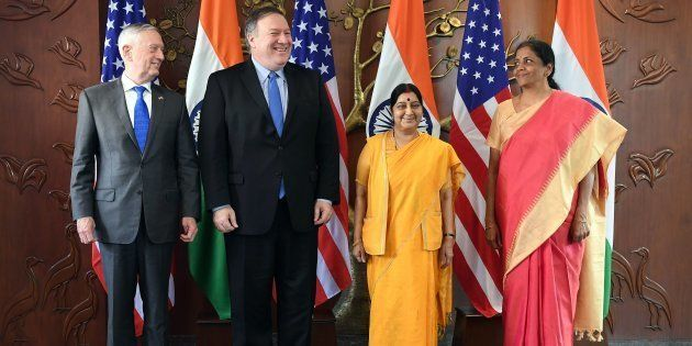 (From left) US defence secretary of US Defence Secretary Jim Mattis, US Secretary of State Mike Pompeo,...
