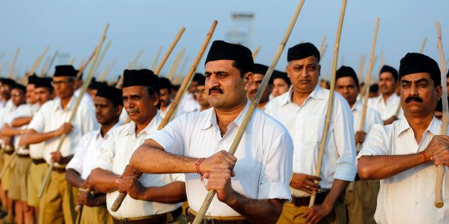 Volunteers of the India's Hindu nationalist organisation Rashtriya Swayamsevak Sangh (RSS) take part...
